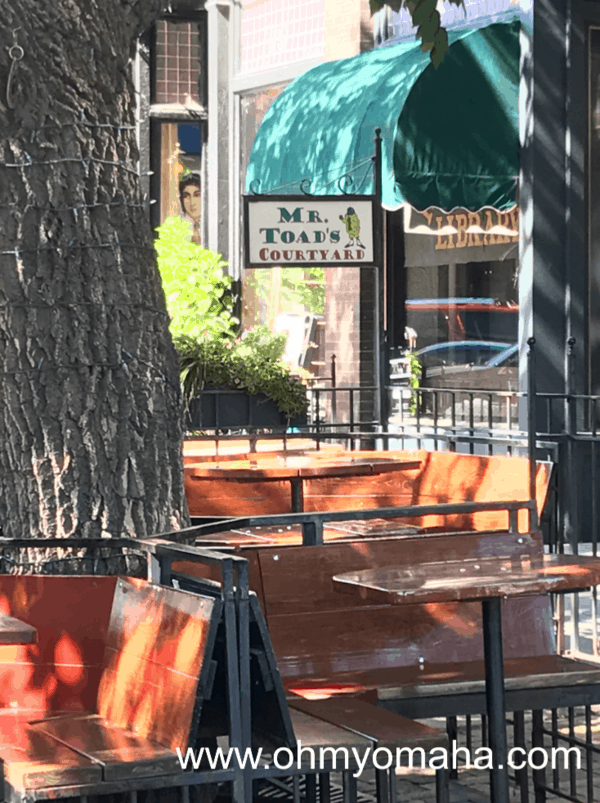 Outdoor seating at Mr. Toad's in the Old Market