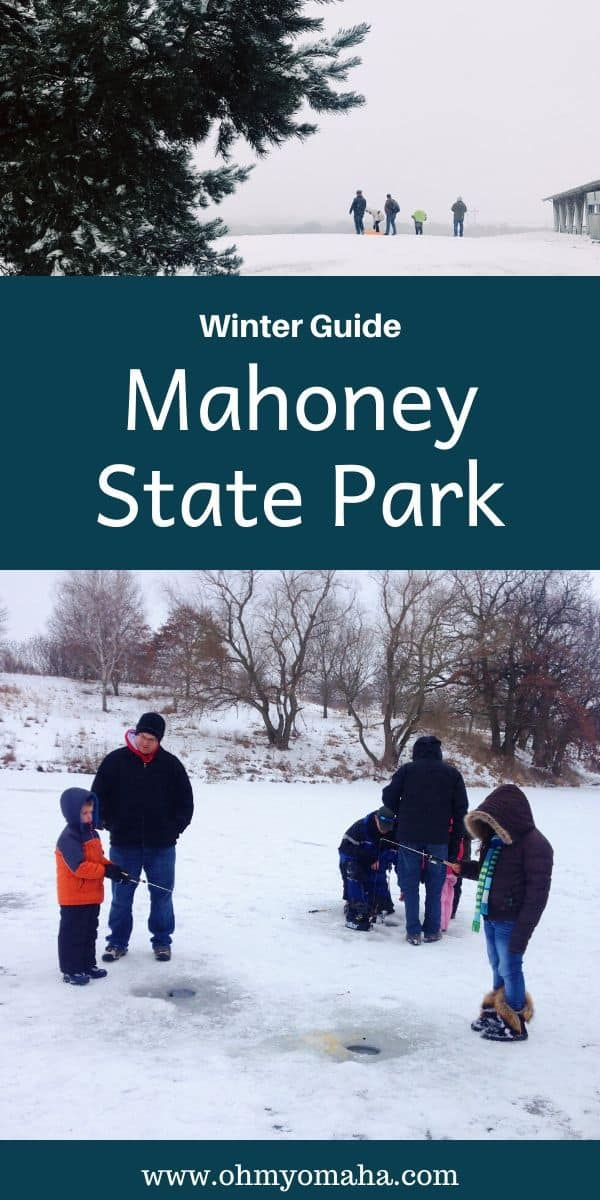 Mahoney State Park is one of Nebraska's most-visited parks. See what there is to do at Mahoney in the winter, from ice fishing and sledding to indoor wall climbing and a huge activity center. #Nebraska #statepark #winter #winterfun #Midwest