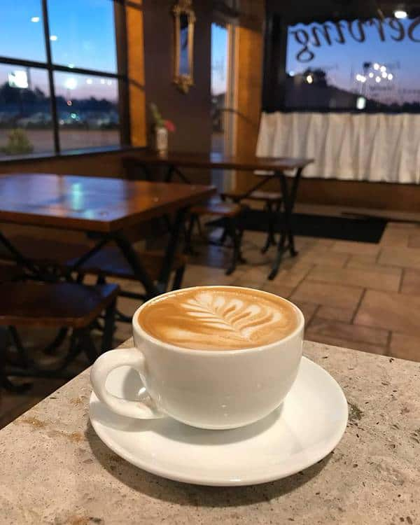 A latte at Barista's Daily Grind in Kearney, Nebraska.