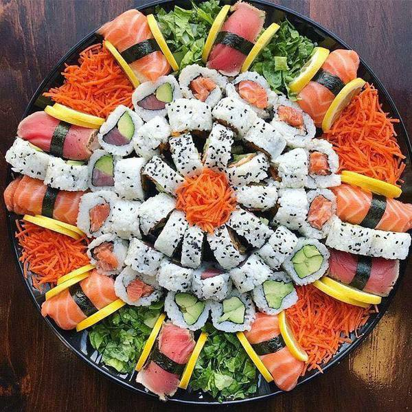Sushi tray at Kyoto in Kearney, Nebraska.