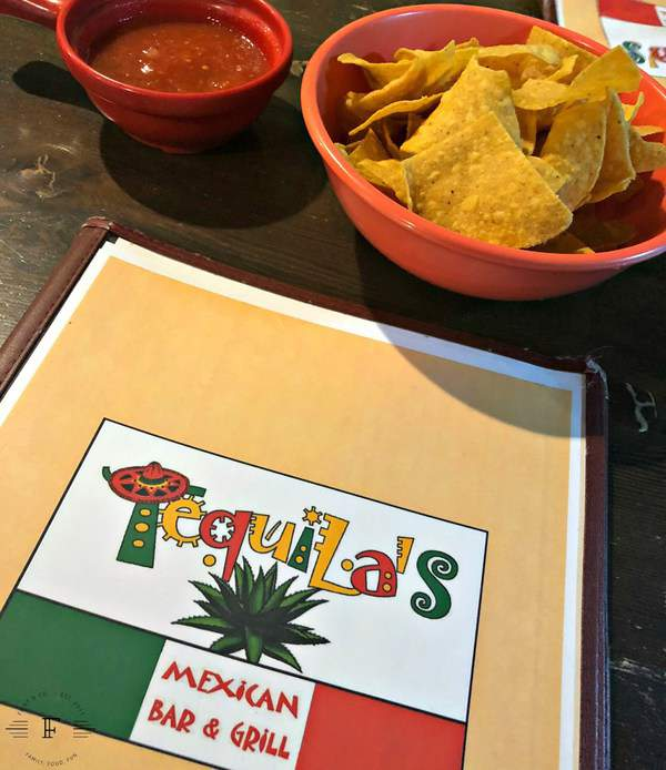 Menu and chips and salsa at Tequila's Mexican Bar & Grill in Northwood, Iowa.