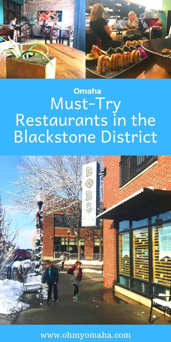 Looking for an Omaha restaurant? Head to the trendy historic neighborhood, the Blackstone District. See where to get wood-fire pizza, sushi, donuts, and the sandwich the neighborhood is known for, the Reuben. #Omaha #Nebraska #restaurant #OmahaFood #Guide