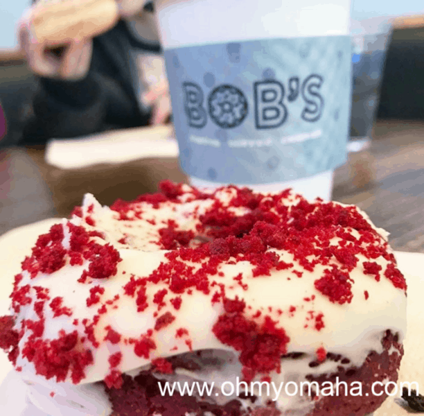 Red velvet donut and coffee to-go at Bob's