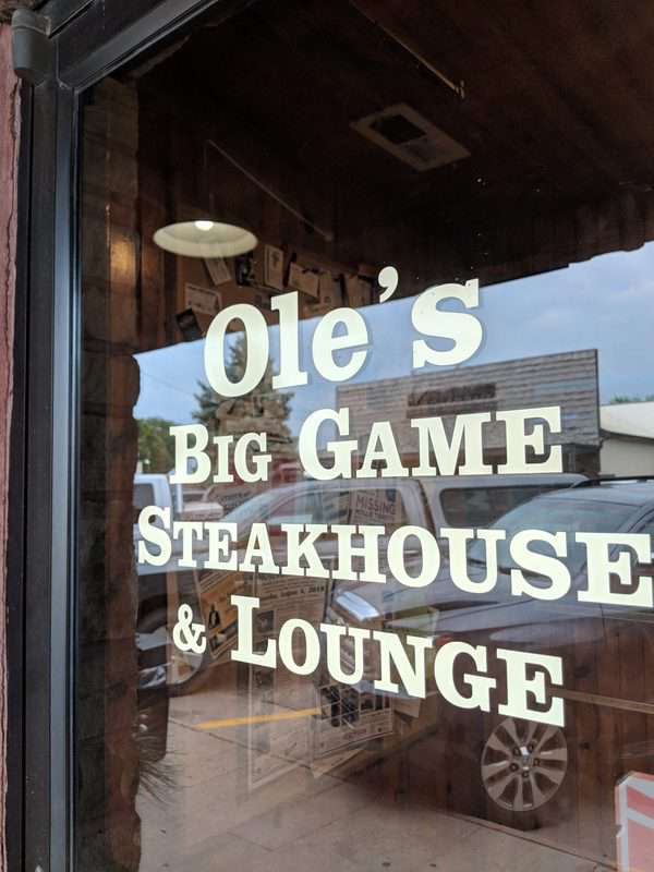 Entrance to Ole's Big Game Steakhouse & Lounge in Paxton, Neb.
