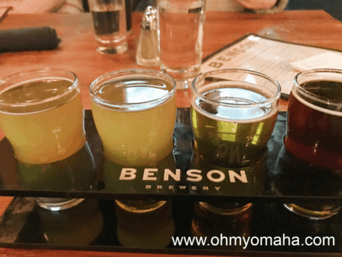 A beer flight at The Benson Brewery