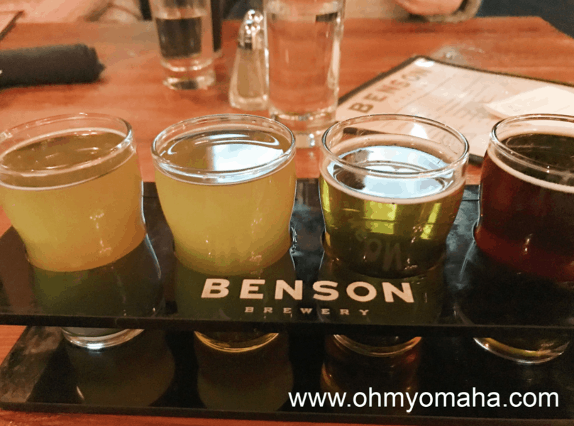 A flight of beers at Benson Brewery