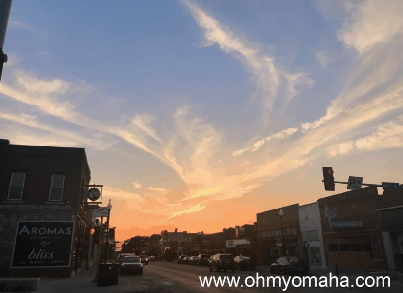 Sunset in Benson, a neighborhood in Omaha Nebraska