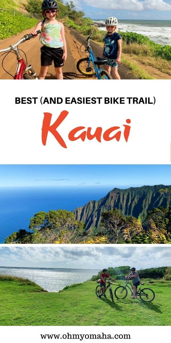 Looking for a scenic and easy bike path on Kauai, Hawaii? Check out the Kapaa Bike Path, an easy biking trail along the coast. Here are tips for biking the trail with kids, including where the restroom stops are, what beaches are along the route, and where to eat after your ride. #biking #biketrail #Hawaii #Kauai #Kapaa