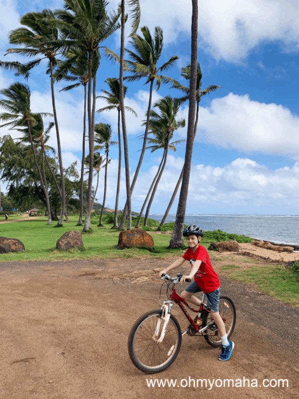 Boy on bike in Kauai, Hawaii