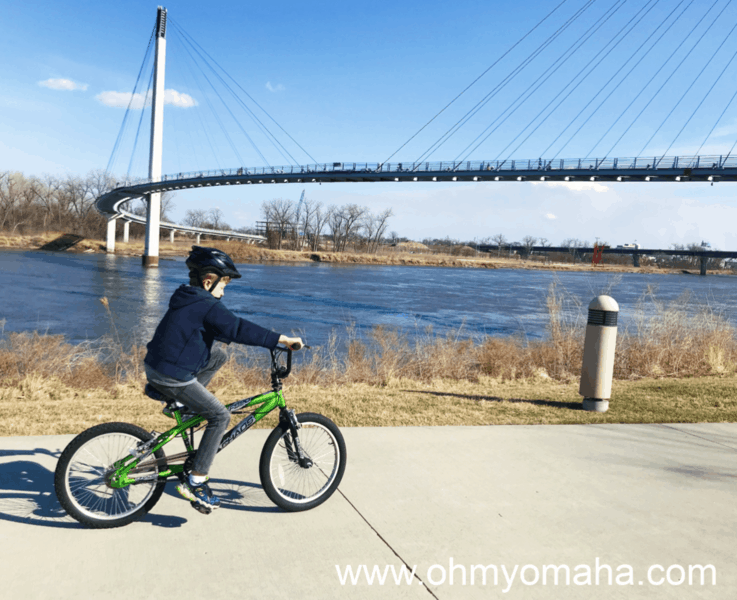 Biking by The Bob, the pedestrian bridge over the Missouri River