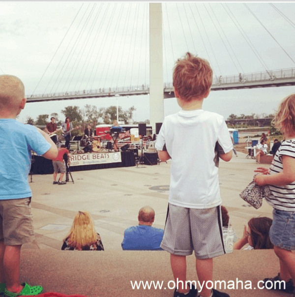 Kids at a Bridge Beats concert in downtown Omaha