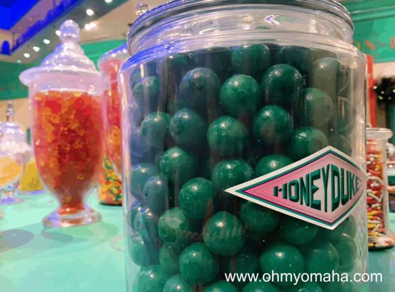Candy jars at Honeydukes inside The Wizarding World of Harry Potter at Universal Studios Hollywood.