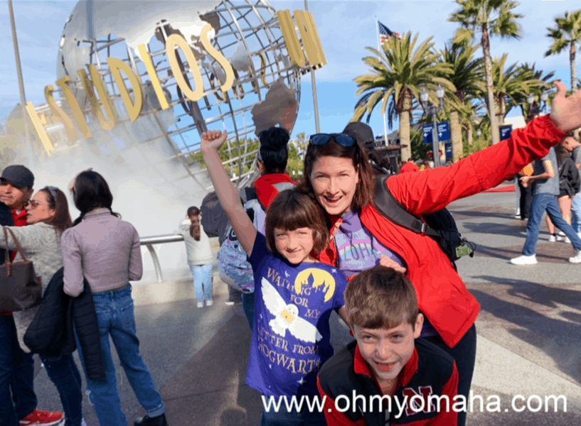 Outside Universal Studios Hollywood with kids