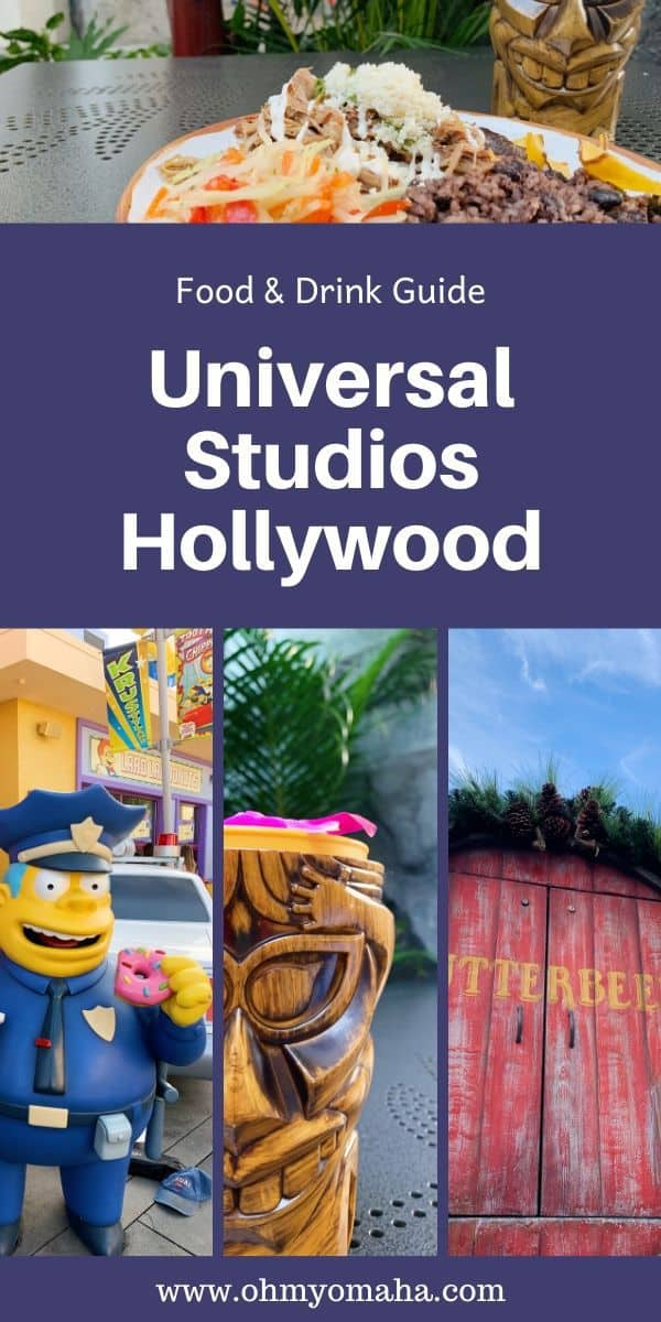 Don't skip planning your meals at Universal Studios Hollywood! Here's a guide to food & drink at the theme park, including what kids like, what food is great to split, and how much one of those tiki drinks cost. #UniversalStudiosHollywood #California #themepark #foodie
