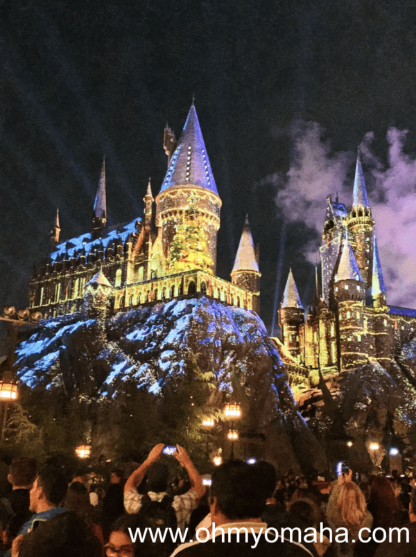 Hogwarts at during the holiday celebration at Universal Studios Hollywood in California