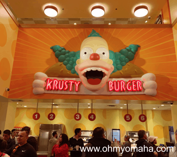 Ordering lines at Krusty Burger at Universal Studios Hollywood in California