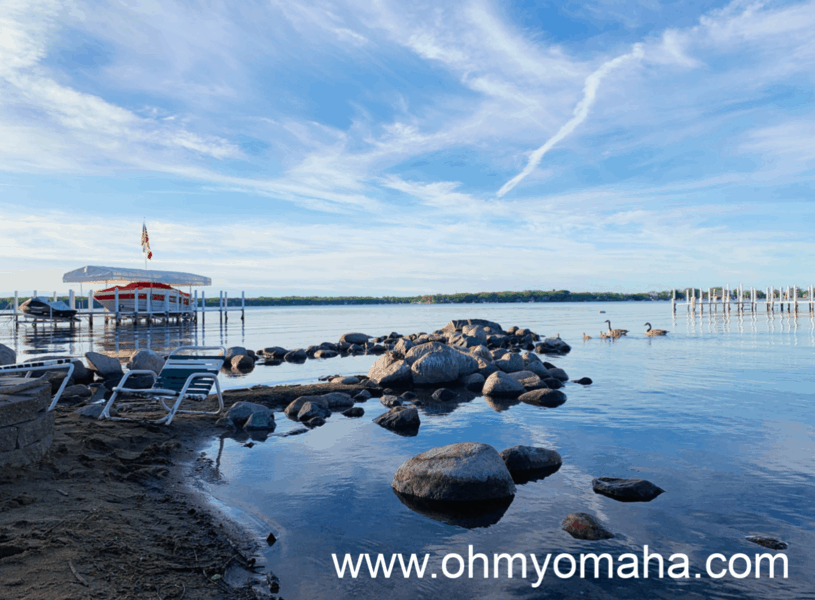 The view of the lake from the beach at Crescent Beach Family Resort in Okoboji, Iowa.