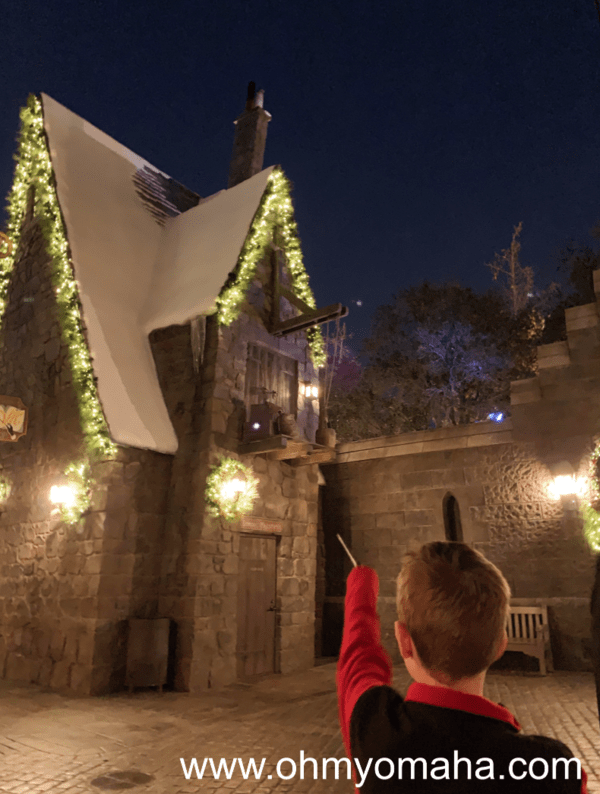 Using interactive wand at The Wizarding World of Harry Potter