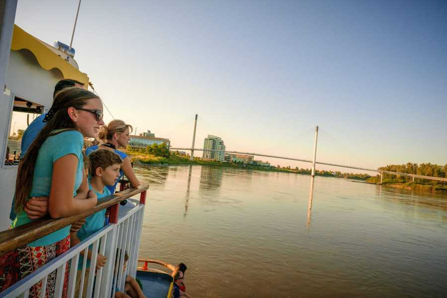 Riding on the River City Star near the Bob Kerrey Pedestrian Bridge in Omaha, Nebraska