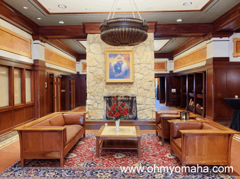 The gorgeous lobby of Hotel Pattee in Perry, Iowa