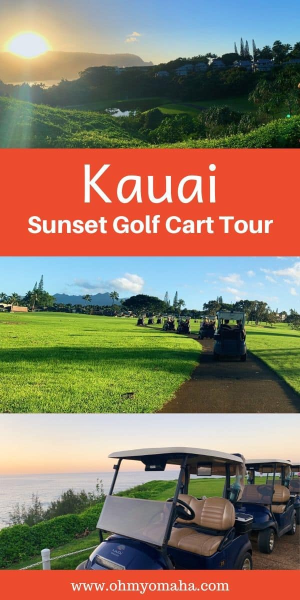 Looking for a relaxed tour in Kauai? Check out this golf cart sunset tour that takes you around one of the world's most scenic golf courses! #Hawaii #hiddengem #USA #USAtravel