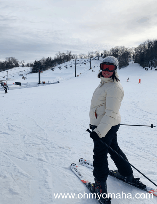 Kim getting ready to ski at Seven Oaks Recreation in Boone, Iowa.