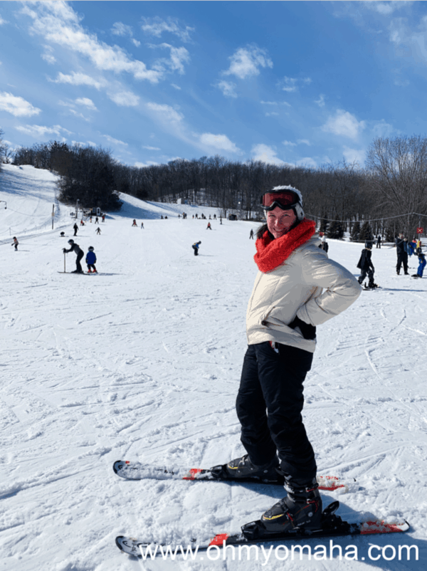 Kim conquering the beginner slope at Seven Oaks Recreation in Iowa