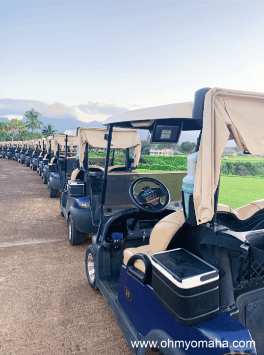 A line of golf carts at the Princeville Makai Golf Course