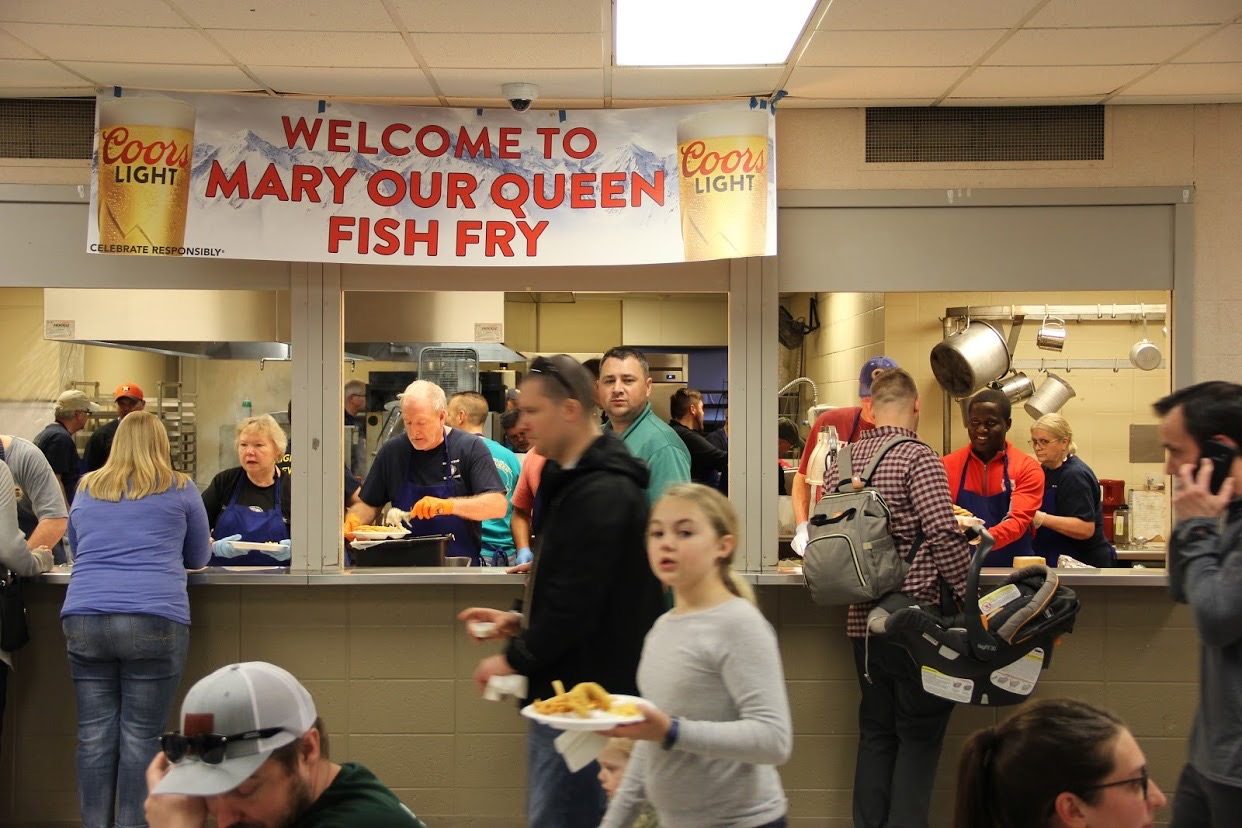 The food pick-up counter at Mary Our Queen Fish Fry in Omaha