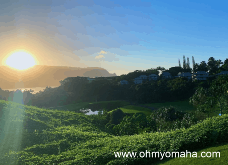 One of the most scenic views at the Princeville Makai Golf Course on Kauai, Hawaii
