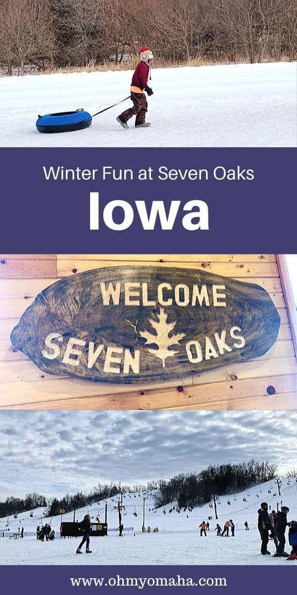 Winter fun at Seven Oaks Recreation in Iowa | Ski, snowboard and snow tube at this Central Iowa destination near Boone, Iowa | Here's what you can expect if you plan a family trip in the winter to Seven Oaks. #Iowa #familytravel #skiing #beginnerskiing #Midwest