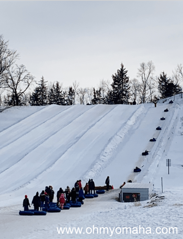 The snow tubing hill at Boone, Iowa ski resort Seven Oaks Recreation