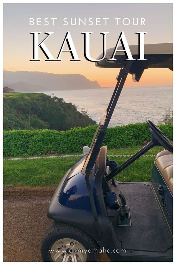 Want a sunset tour on Kauai? Here's a fun one - try a golf cart tour! Here's everything you need to know about the Princeville Makai Golf Course sunset tour. #Kauai #Hawaii #USA
