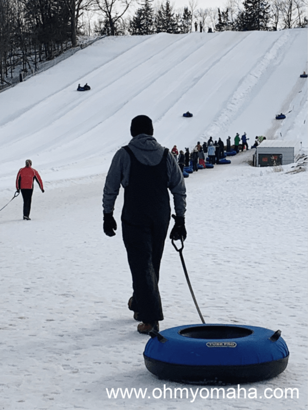 Snow tubing hill at Seven Oaks Recreation in Iowa