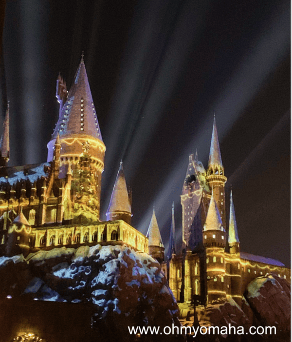 A light show projected onto the castle at the Wizarding World of Harry Potter at Universal Studios Hollywood