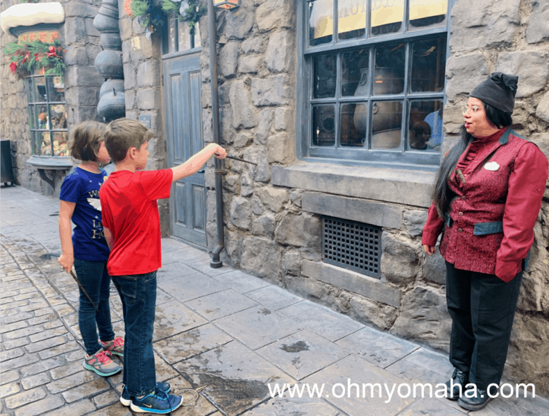 Casting a spell at the Wizarding World of Harry Potter in California