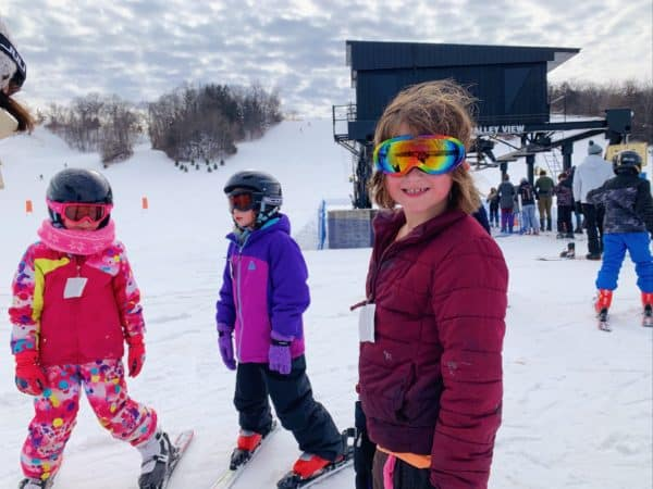 Girls skiing at Seven Oaks Recreation in Boone, Iowa