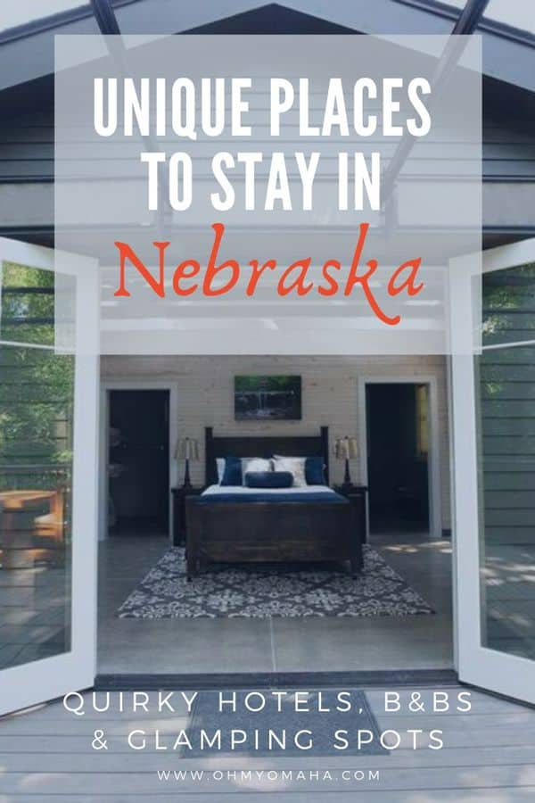 Stay somewhere fun in Nebraska! Here's a list of unique hotels & B&Bs to stay in Nebraska, from glamping to staying in a one-room school house or teepee. | Quirky Nebraska hotels | Fun places to stay in Nebraska #Nebraska #Midwest #travel