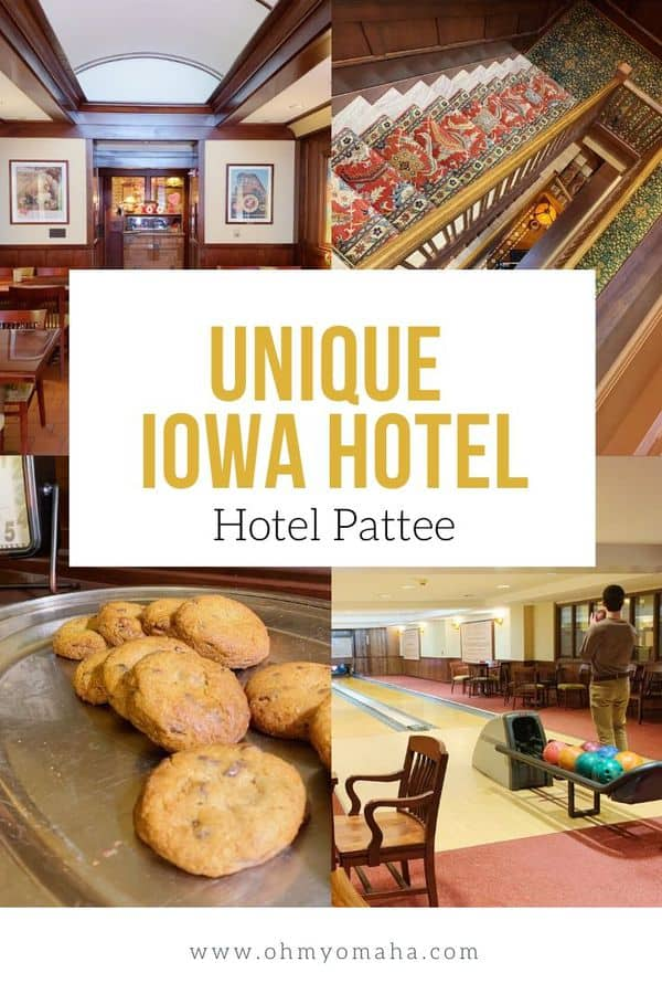 Inside the historic Hotel Pattee - This unique Iowa hotel in Perry, Iowa, has its own bowling alley, spa, and themed rooms to inspire families who stay there. #familytravel #thisisiowa #Iowahotel