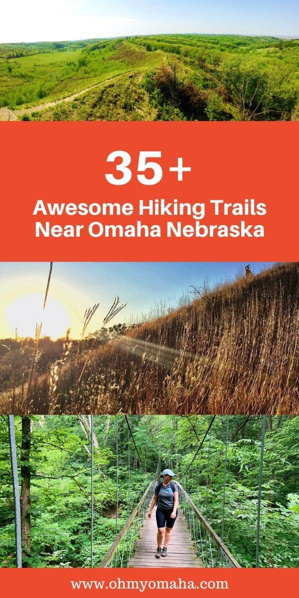 Hiking trails aren't far from the Omaha metro! Here are dozens of options within a two-hour drive from the city. Trails include those in the Loess Hills (like Preparation Canyon and Hitchcock Nature Center) and those in Nebraska state parks like Indian Cave, Schramm and Platte River. #Nebraska #Iowa #hikes #hiking #midwest #guide #outdoors