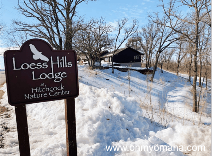 The Loess Hills Lodge at Hitchcock Nature Center in the winter with the observation tower in the background