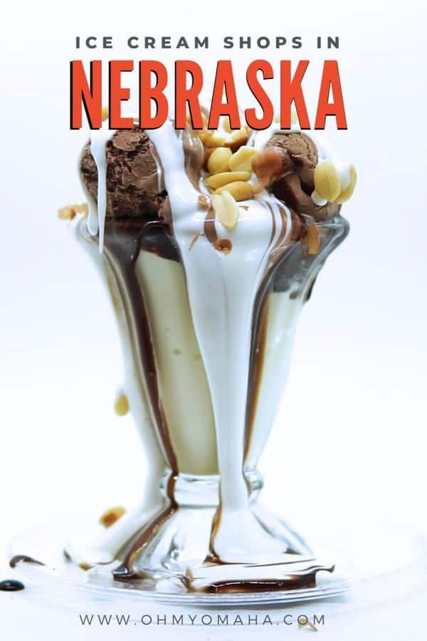 A look at 8 unique ice cream shops in Nebraska, including the Potter Sundry, home of the tin roof sundae. #Nebraska #MidwestisBest #icecream #dessert