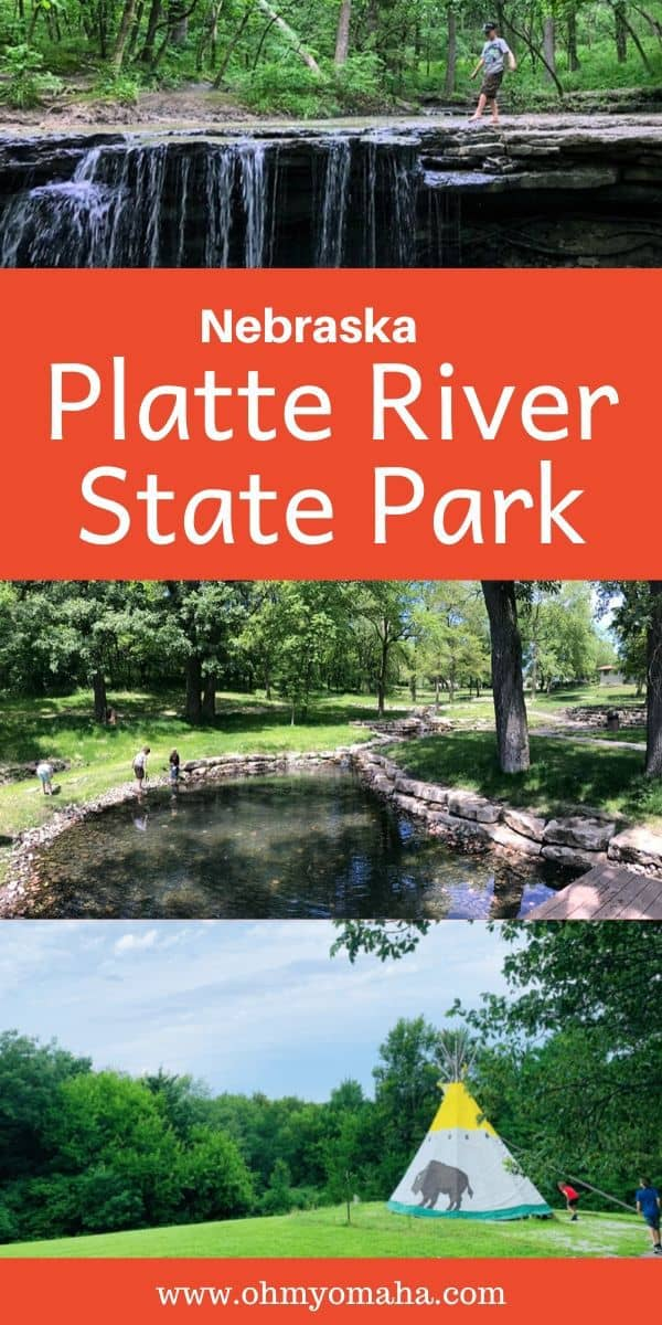 Looking for a place to hike or explore near Omaha? One of the closest state parks is Platte River State Park. Here's a guide to fun things to do at the park, including horseback rides, hikes and water activities (including the only waterfall you'll find in eastern Nebraska!). This guide is helpful for families visiting Platte River State Park with kids. #Nebraska #outdoors