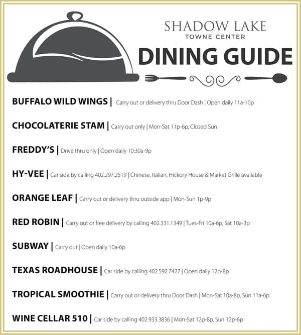 Dining guide for Shadow Lake Towne Center
