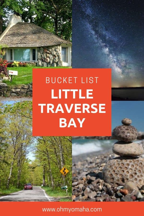 A small-town getaway bucket list for Little Traverse Bay in Michigan. This wish list of things to do in the Michigan region includes where to see the night skies, hunt for Petoskey stones, drive a well-known tree-lined route, and seek out the famous Mushroom Homes | Things to do in Michigan USA | Michigan road trip ideas | Little Traverse Bay family vacation