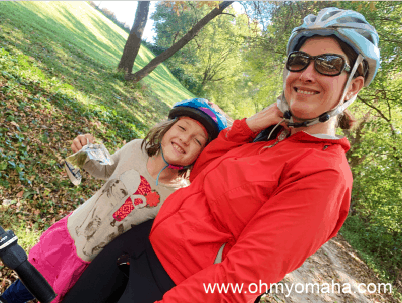 Mom and daughter on the Wabash Trace Trail in southwestern Iowa