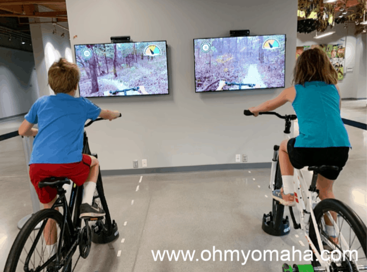 Racing on the virtual mountain bikes at Schramm Park SRA