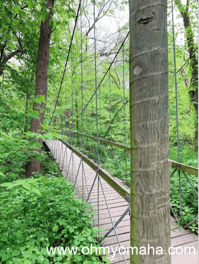 A suspension bridge at Schramm Park near Omaha,  Nebraska