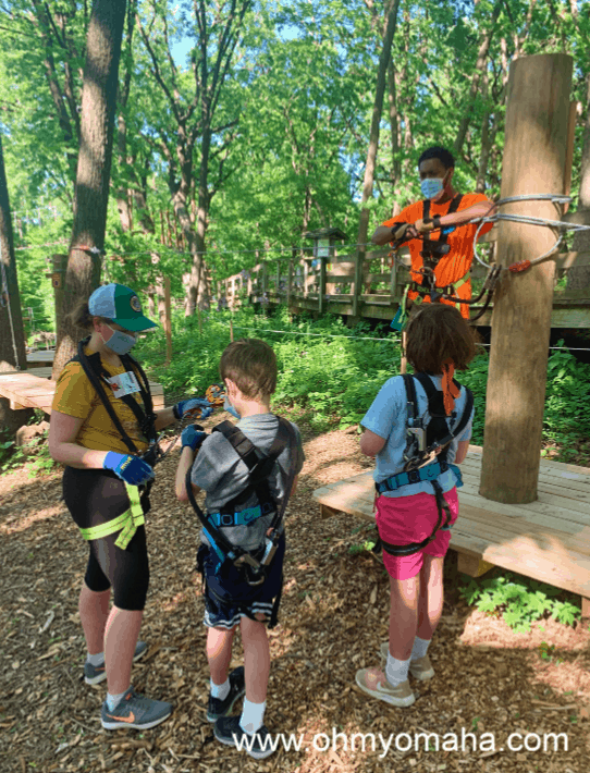 Safety training and practice at TreeRush Adventures at Fontenelle Forest