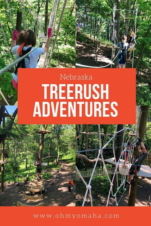 The ultimate family outing near Omaha Nebraska - try a ropes course! Here's what to expect if you go to TreeRush Adventures at Fontenelle Forest. #FamilyTravel #Nebraska #Outdoors #Midwest